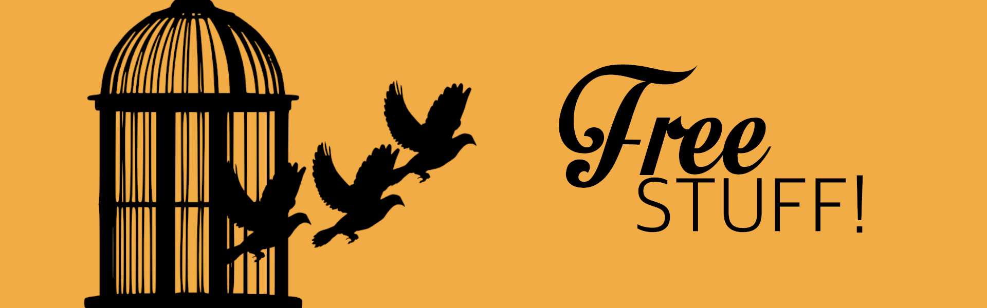 FREE STUFF BANNER BIRD CAGE gold